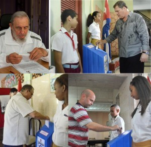 Fidel Castro and three of the Cuban Five voting in the Cuban elections of April, 2015